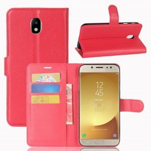 Samsung Galaxy J7 (2017) - etui na telefon i dokumenty - Czerwone