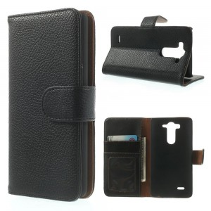 LG G3 S - etui na telefon i dokumenty - Litchi czarne