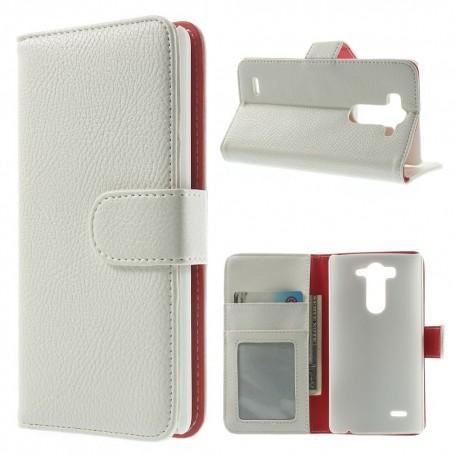 LG G3 S Portfel - etui na telefon i dokumenty - Litchi białe