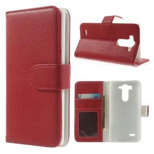 LG G3 S - etui na telefon i dokumenty - Litchi czerwone