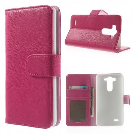 LG G3 S - etui na telefon i dokumenty - Litchi różowe V