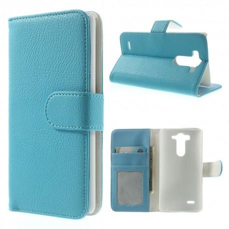 LG G3 S - etui na telefon i dokumenty - Litchi niebieske