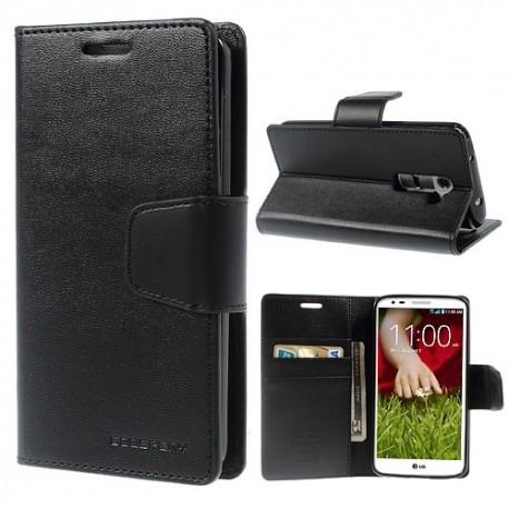 LG G2 - etui na telefon i dokumenty - Sonata czarne
