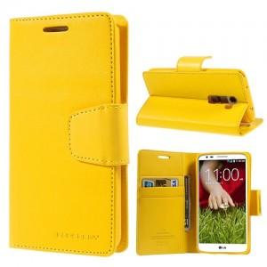 LG G2 - etui na telefon i dokumenty - Sonata Goospery żółte