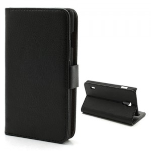 LG Optimus L7 II P710 - etui na telefon i dokumenty - Litchi czarne