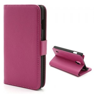 LG Optimus L7 II P710 - etui na telefon i dokumenty - Litchi różowe