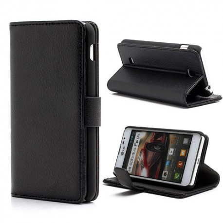 LG Optimus F5 P875 - etui na telefon i dokumenty - Litchi czarne