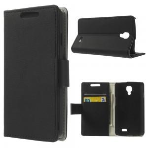 LG F70 - etui na telefon i dokumenty - Litchi czarne