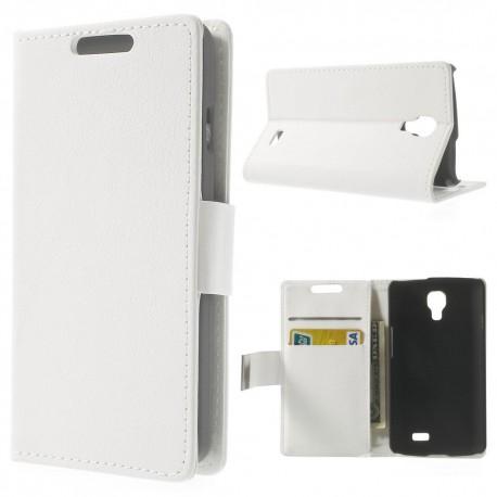 LG F70 - etui na telefon i dokumenty - Litchi białe
