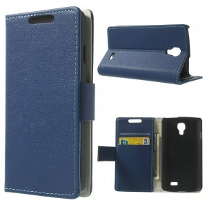 LG F70 - etui na telefon i dokumenty - Litchi niebieskie