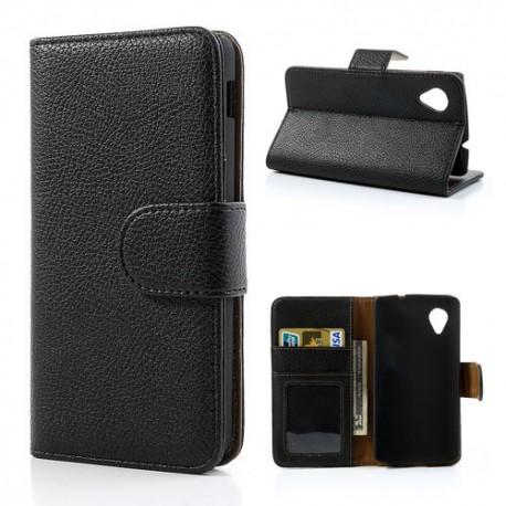 LG Nexus 5 - etui na telefon i dokumenty - Litchi czarne