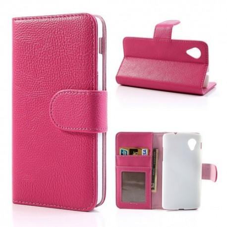 LG Nexus 5 - etui na telefon i dokumenty - Litchi różowe