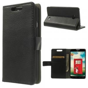 LG L70 - etui na telefon i dokumenty - Litchi czarne
