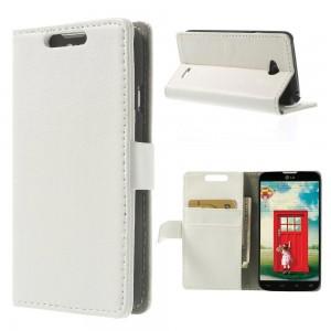 LG L70 - etui na telefon i dokumenty - Litchi białe