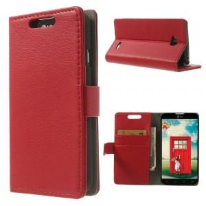 LG L70 - etui na telefon i dokumenty - Litchi czerwone