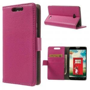 LG L70 - etui na telefon i dokumenty - Litchi różowe