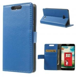 LG L70 - etui na telefon i dokumenty - Litchi niebieskie