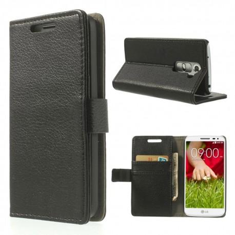LG G2 Mini - etui na telefon i dokumenty - Litchi czarne