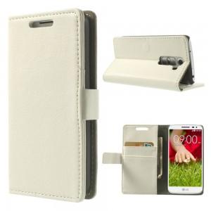 LG G2 Mini - etui na telefon i dokumenty - Litchi białe