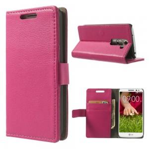 LG G2 Mini - etui na telefon i dokumenty - Litchi różowe