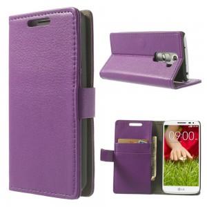 LG G2 Mini - etui na telefon i dokumenty - Litchi purpurowe