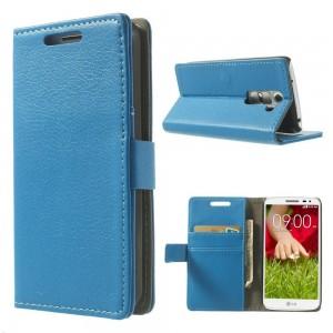 LG G2 Mini - etui na telefon i dokumenty - Litchi niebieskie