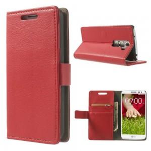 LG G2 Mini - etui na telefon i dokumenty - Litchi czerwone