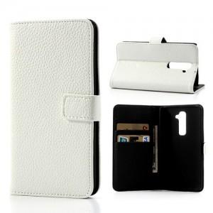 LG G2 - etui na telefon i dokumenty - Litchi białe