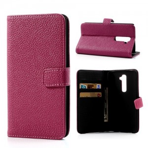 LG G2 - etui na telefon i dokumenty -Litchi różowe