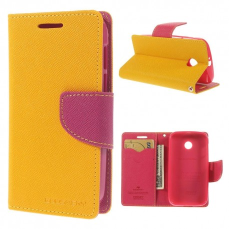 Motorola Moto E - etui na telefon i dokumenty - Fancy żółte