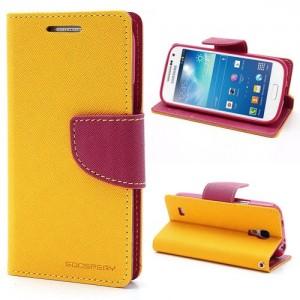 Samsung Galaxy S4 Mini - etui na telefon i dokumenty - Fancy żółte