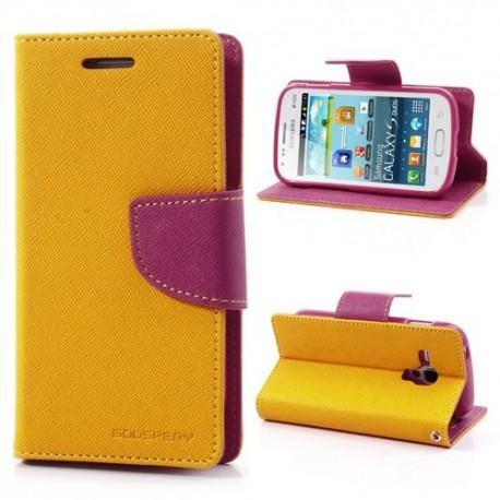 Samsung Galaxy Trend / Trend Plus - etui na telefon i dokumenty - Fancy żółte
