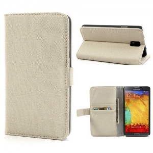Samsung Galaxy Note 3 - etui na telefon i dokumenty - materiał Beżowe