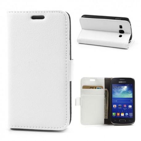 Samsung Galaxy Ace 3 - etui na telefon i dokumenty - Lychee białe
