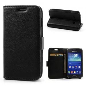 Samsung Galaxy Ace 3 - etui na telefon i dokumenty - Lychee czarne