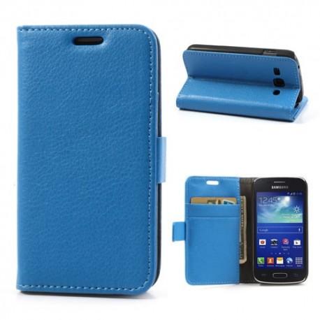 Samsung Galaxy Ace 3 - etui na telefon i dokumenty - Lychee niebieskie