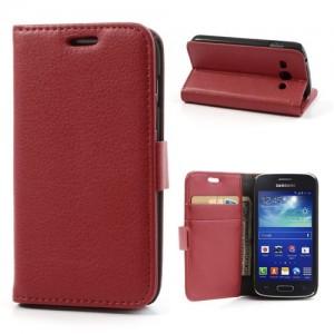 Samsung Galaxy Ace 3 - etui na telefon i dokumenty - Lychee czerwone