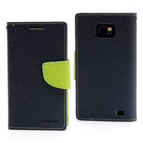Samsung Galaxy S2 - etui na telefon i dokumenty - Fancy niebieskie