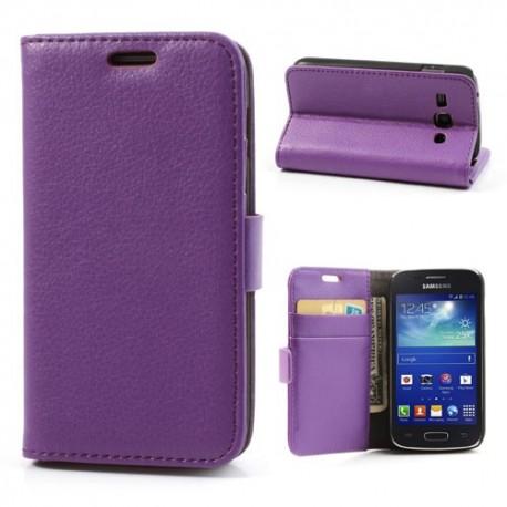 Samsung Galaxy Ace 3 - etui na telefon i dokumenty - Lychee purpurowe
