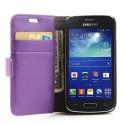 Samsung Galaxy Ace 3 Portfel Etui – Lychee Purpurowy
