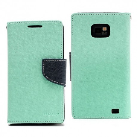 Samsung Galaxy S2 - etui na telefon i dokumenty - Fancy cyjan