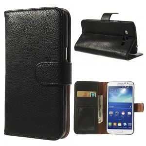 Samsung Galaxy Grand 2 - etui na telefon i dokumenty - Litchi czarne