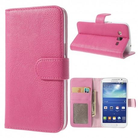 Samsung Galaxy Grand 2 - etui na telefon i dokumenty - Litchi różowe