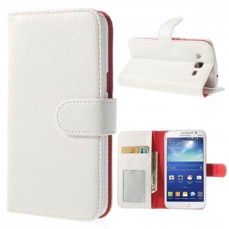 Samsung Galaxy Grand 2 - etui na telefon i dokumenty - Litchi białe