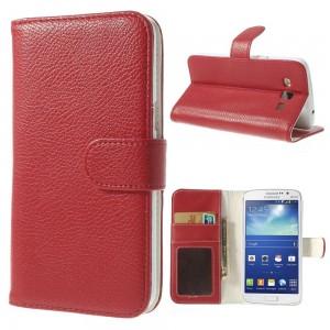 Samsung Galaxy Grand 2 - etui na telefon i dokumenty - Litchi czerwone