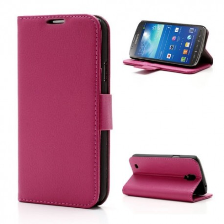 Samsung Galaxy S4 Active - etui na telefon i dokumenty - Litchi różowe