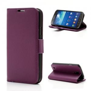 Samsung Galaxy S4 Active - etui na telefon i dokumenty - Litchi purpurowe