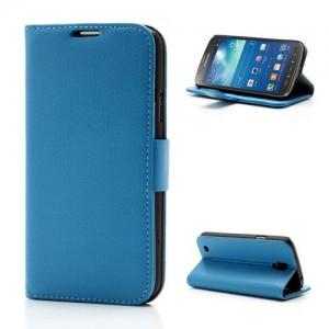 Samsung Galaxy S4 Active - etui na telefon i dokumenty - Litchi niebieskie