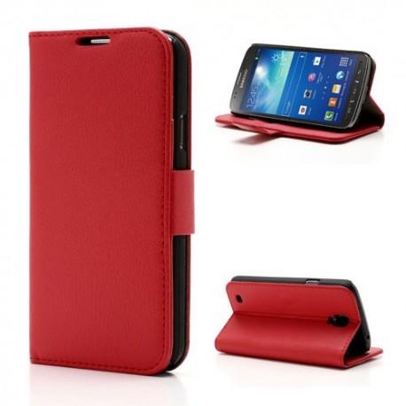 Samsung Galaxy S4 Active - etui na telefon i dokumenty - Litchi czerwone
