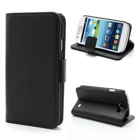 Samsung Galaxy Express - etui na telefon i dokumenty -Litchi czarne